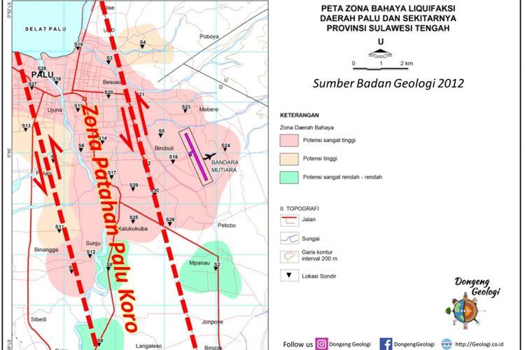 Peta zona bahaya likuefaksi daerah Palu