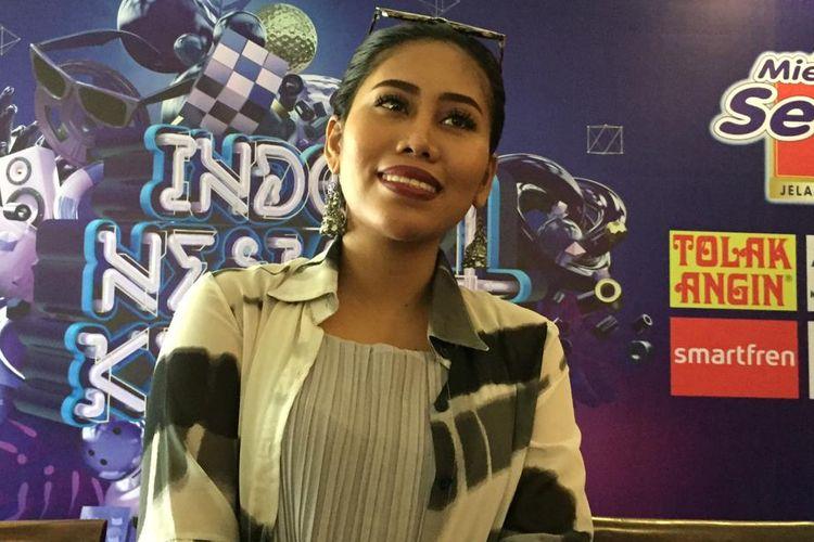 Evi Masamba saat ditemui dalam jumpa pers Konser Indonesia Keren 4 di kawasan Ancol, Jakarta Utara, Rabu (27/3/2019).