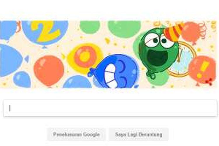 Google doodle menyambut tahun baru 2017, Minggu (1/1/2017).