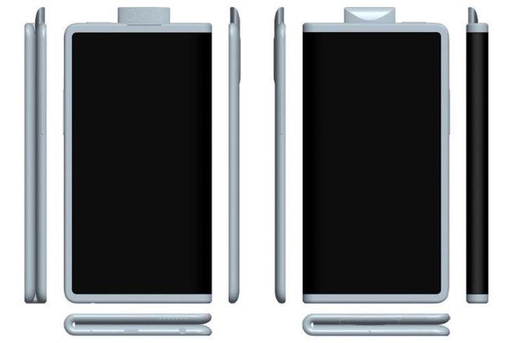Ilustrasi ponsel lipat Oppo dengan kamera pop-up