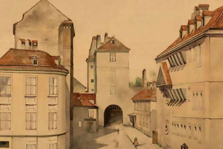 Lukisan yang menggambarkan gerbang benteng Wina ini diyakini merupakan karya pemimpin Nazi Adolf Hitler.