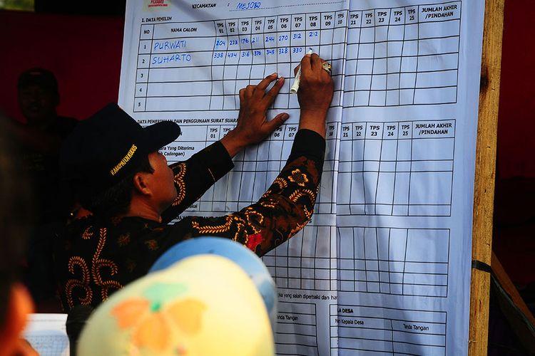 Foto dirilis Minggu (8/12/2019), memperlihatkan petugas mencatat suara saat perhitungan suara pada pemilihan kepala desa (Pilkades) serentak di Kudus. Pesta demokrasi Pilkades Serentak 2019 berlangsung di sejumlah daerah di Indonesia, salah satunya di Kudus yang diikuti sebanyak 115 desa dari 9 kecamatan dengan 286 kontestan.