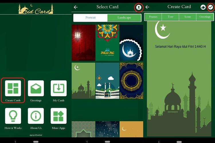 Ilustrasi membuat kartu ucapan lebaran via Muslim Cards Pro 1