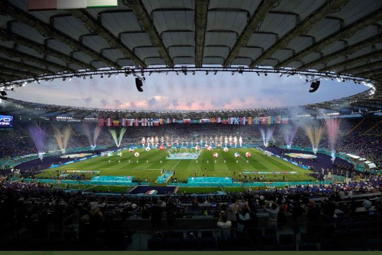 Pembukaan ajang Piala Eropa atau Euro 2020 di Stadio Olimpico, Roma, Italia, Sabtu (12/6/2021) dini hari WIB.
