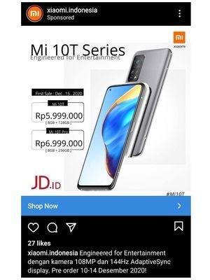 Ilustrasi bocoran harga Mi 10T Series yang muncul di Instagram.