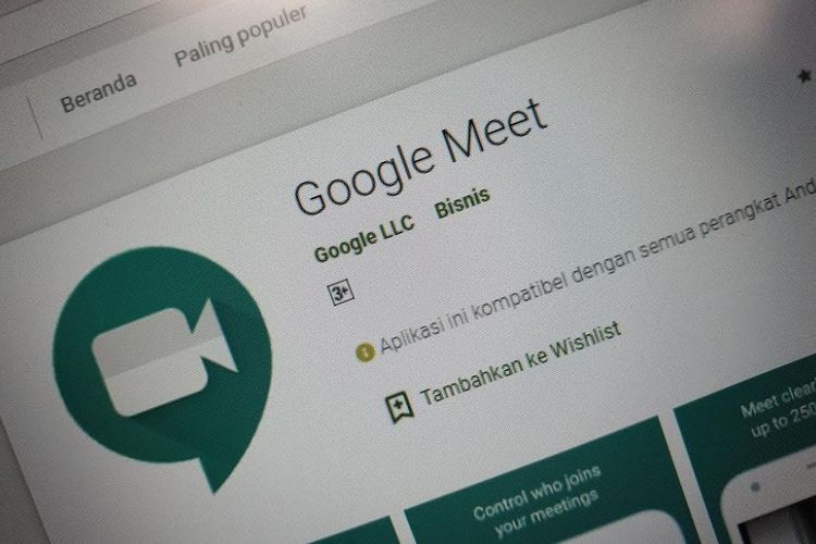 Aplikasi Google Meet di Play Store.