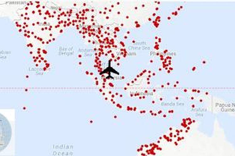 Peta bandara yang bisa dituju MH370 versi WNYC