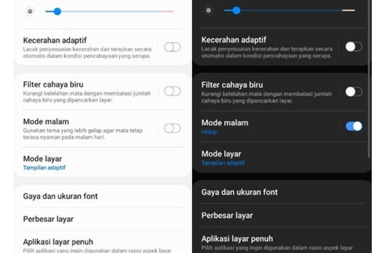 Perubahan tampilan dari light mode menjadi dark mode pada ponsel Android.