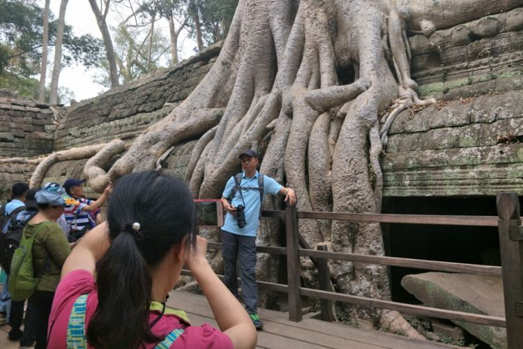 Para wisatawan berfoto di sekitar bangunan candi yang terlilit akar pohong spung di Komplek Candi Ta Prohm, Angkor, Siem Reap, Kamboja.
