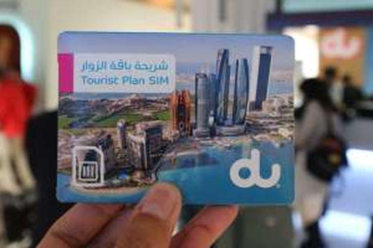 Salah satu provider SIM card lokal di Dubai yang menjual paket SIM card untuk turis.