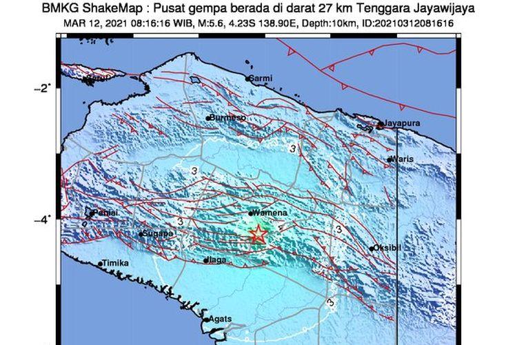 Gempa M 5,6 mengguncang wilayah Wamena pada Jumat, 12 Maret 2021. Pusat gempa di darat, 27 kilometer tenggara Jayawijaya.