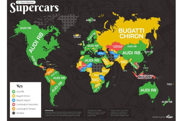 Daftar supercar terpopuler dalam mesin pencarian Google