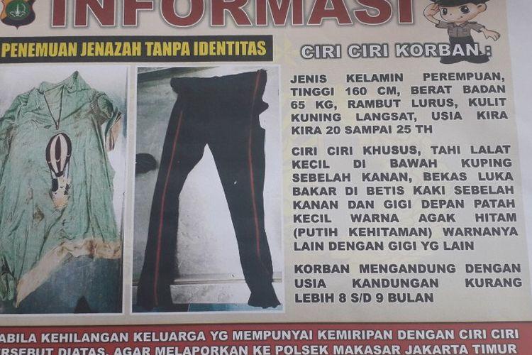 Polisi membuat poster pengumuman guna mencari identitas mayat perempuan misterius yang ditemukan di jalur masuk Tol Jagorawi, Minggu (7/4/2019) lalu.