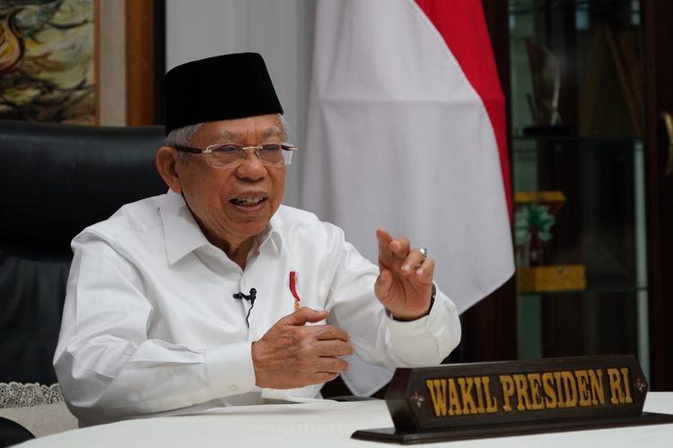 Wakil Presiden Maruf Amin saat berbicara di acara Komisi Aparatur Sipil Negara (KASN), Kamis (28/1/2021).