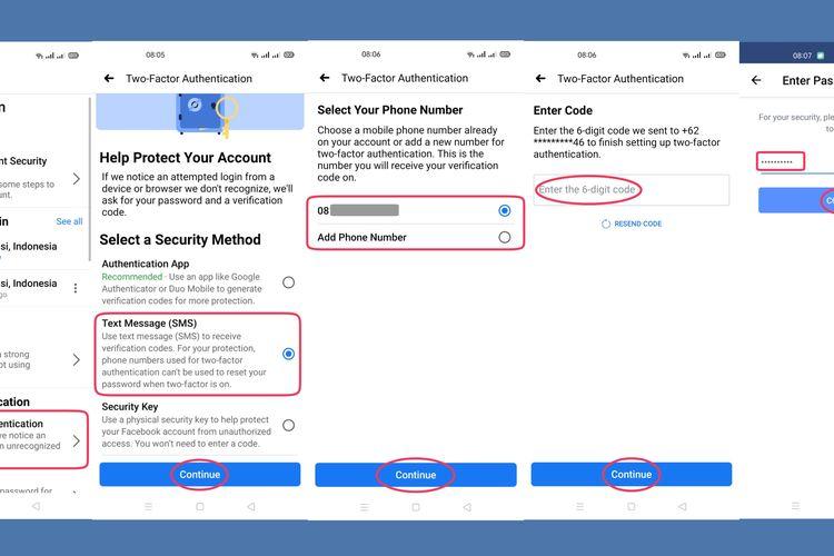 Langkah-langkah mengaktifkan fitur otentikasi dua faktor (TFA) pada akun Facebook.