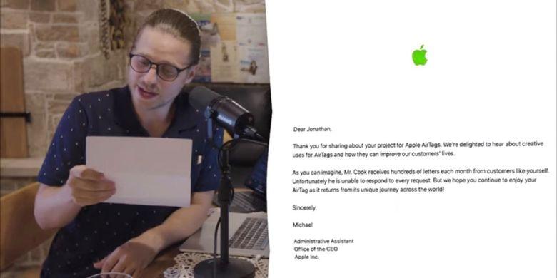YouTuber MegaLag membacakan surat dari Apple.