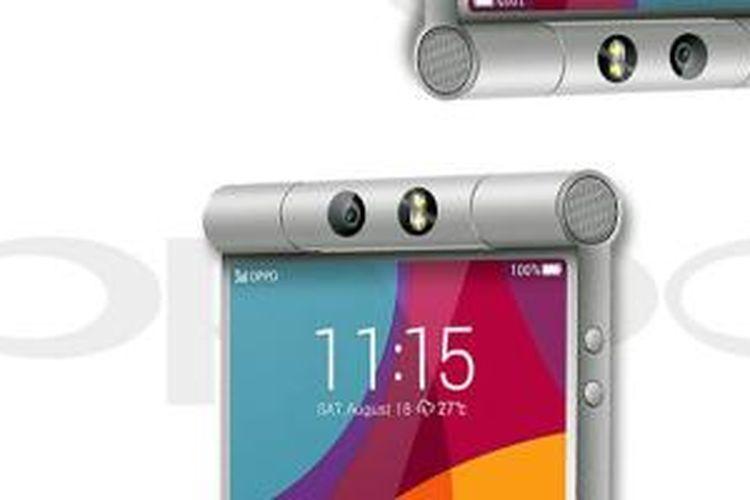 Bocoran foto Oppo N3 yang beredar di internet, kamera atas yang bisa diputar menggunakan desain menyerupai tabung.