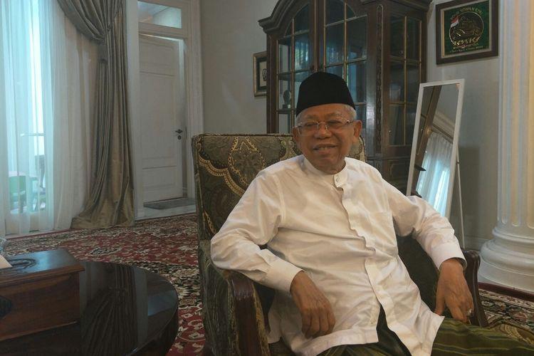 Calon wakil presiden nomor urut 01 Maruf Amin di rumahnya di Jalan Situbondo, Kamis (18/4/2019).
