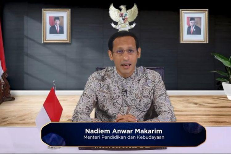 Mendikbud Nadiem Makarim saat memberikan pidato di Hari Guru Nasional (HGN) di tahun 2020.