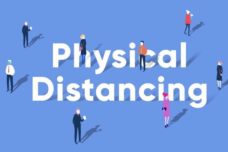Ilustrasi physical distancing atau jarak fisik