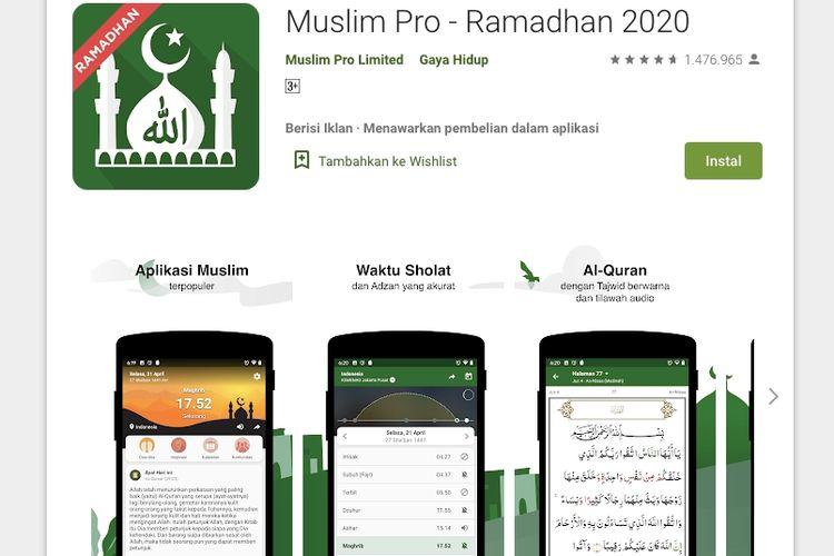 Aplikasi Muslim Pro di Play Store.