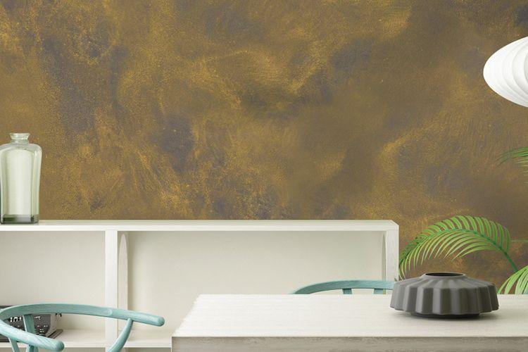Efek kilau pada tembok setelah dicat dengan Majestic Design Pearl.