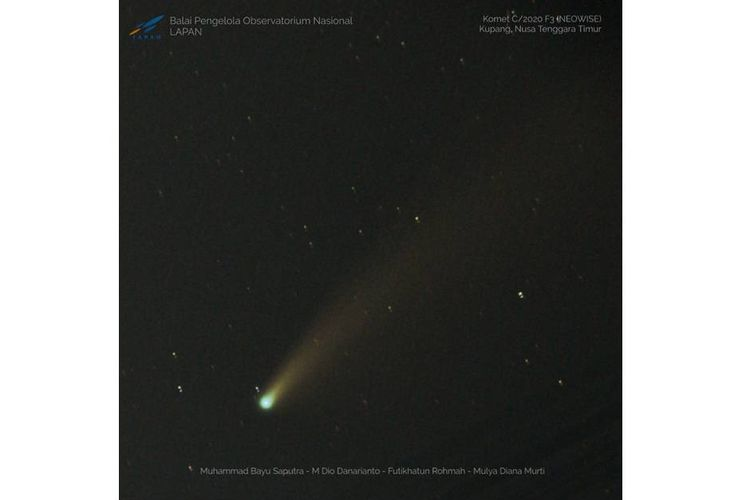 Foto Komet Neowise di Kupang, NTT, Rabu (22/7/2020).