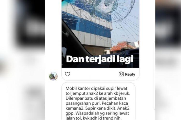 Sebuah mobil menjadi korban pelemparan batu di tol kawasan Kembangan, Jakarta Barat, Senin (16/7/2018).