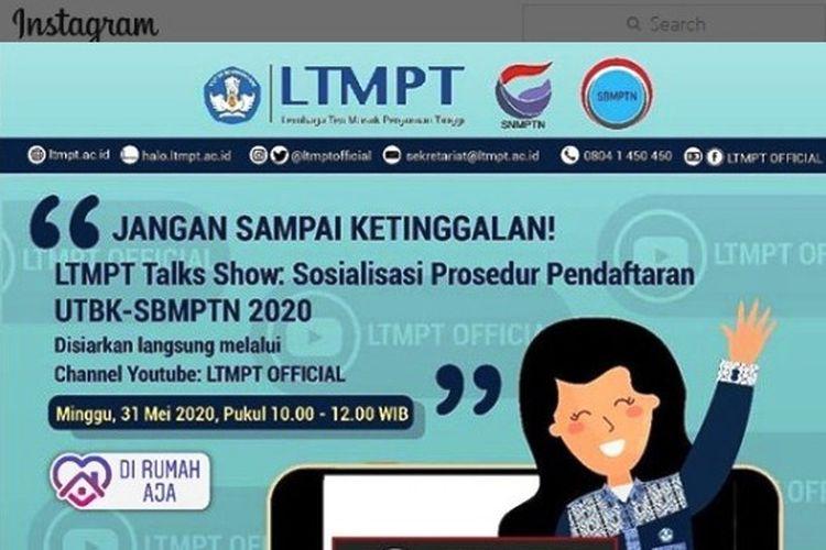 Tangkapan layar akun Instagram LTMPT.