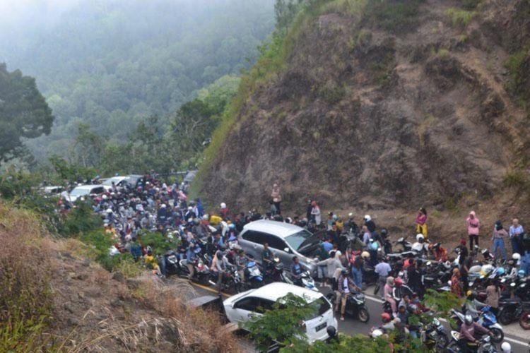 Suasana kemacetan di Sembalun