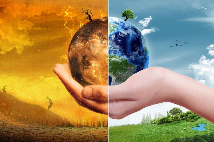Ilustrasi perubahan iklim, kebakaran hutan