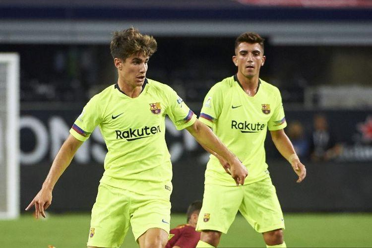 Pemain FC Barcelona Alex Collado mengontrol bola selama pertandingan persahabatan persahabatan International Champions Cup (ICC) antara AS Roma dan FC Barcelona pada 31 Juli 2018 di AT&T Stadium di Arlington, Texas.
