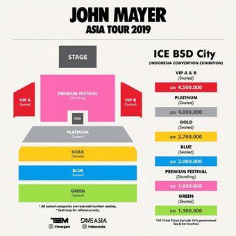 Seat plan dan kategori tiket konser penyanyi solo asal Amerika Serikat, John Mayer, di Indonesia pada 5 April 2019.