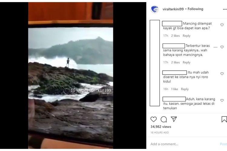 Sebuah video yang menampilkan detik-detik seorang pemancing tampak tergulung ombak di Pantai Wediombo, Gunungkidul, viral di media sosial.