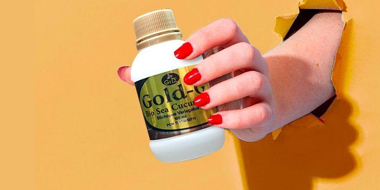 Suplemen Jelly Gamat Gold-G yang berisi ekstrak teripang emas.