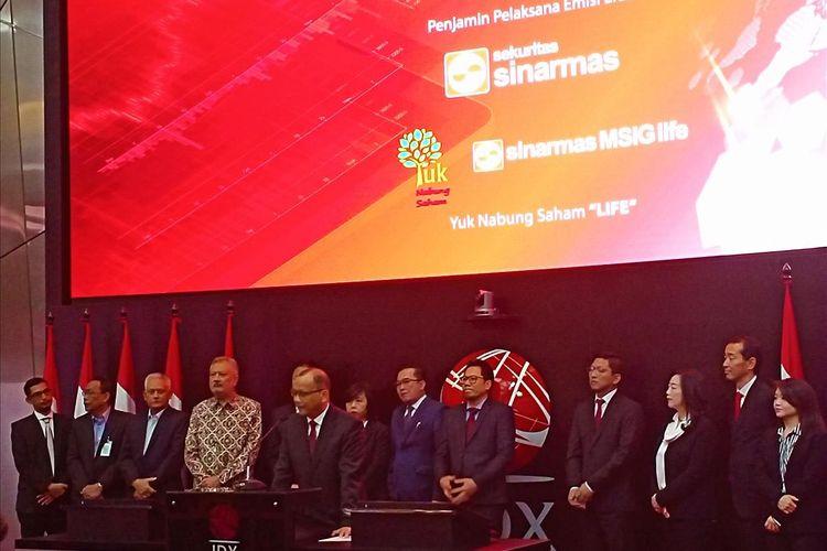 Sinarmas MSIG Life melakukan melakukan IPO dan resmi menjadi perusahaan tercatat di BEI, Selasa (9/7/2019).