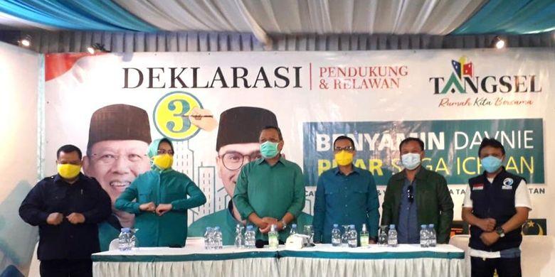 Acara deklarasi kemenangan oleh tim pemenangan Benyamin Davnie-Pilar Saga Ichsan sebagai walikota dan wakil walikota Tangerang Selatan 2020-2025.