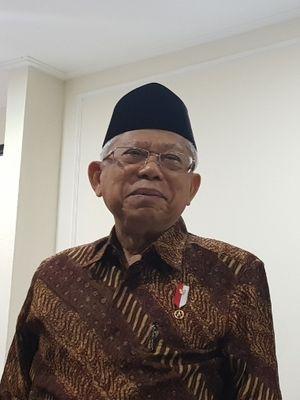 Wapres Maruf Amin saat ditemui wartawan di Istana Wakil Presiden, Jakarta Pusat, Kamis (27/11/2019).