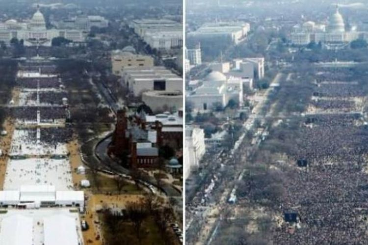 Foto udara ini membandingkan upacara pelantikan Barack Obama dan Donald Trump. Di sebelah kiri, suasana pelantikan Trump (2017) sementara foto sebelah kanan adalah kerumunan massa dalam pelantikan Barack Obama 2009.