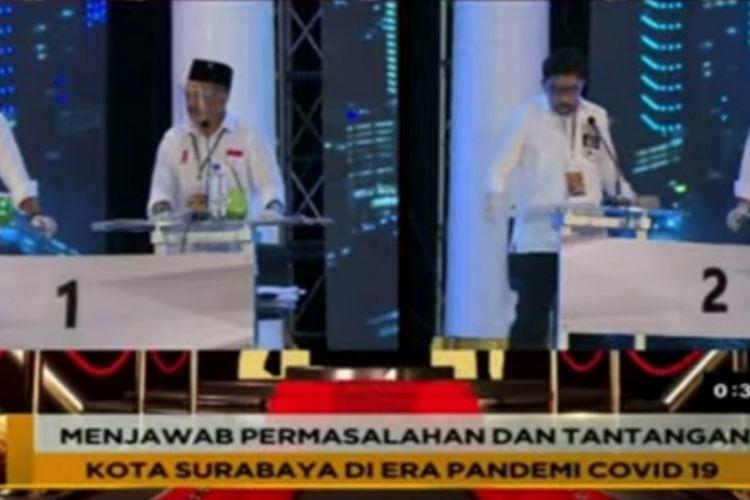 Debat publik putaran pertama Pilkada Surabaya, Rabu (4/11/2020) malam.