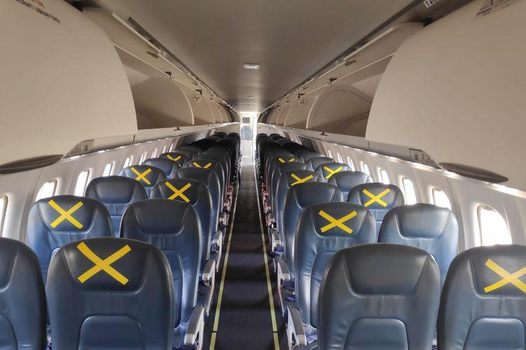 Social distancing di kabin pesawat ATR 72 Lion Air Group