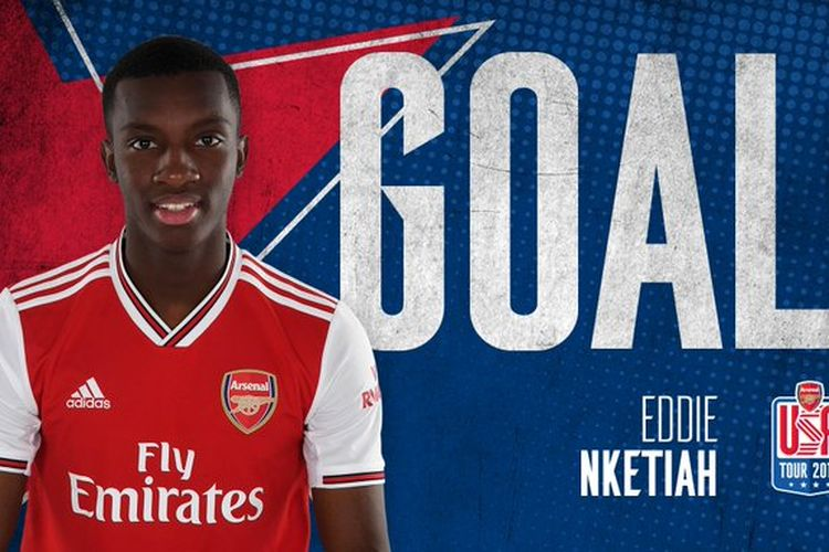 Eddie Nketiah, penyerang muda Arsenal.