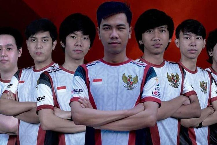 Skuad tim nasional Dota 2 Indonesia yang tengah berjuang di IESF World Championship 2020.