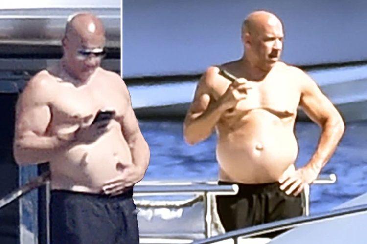 Vin Diesel tertangkap kamera bertelanjang dada dengan perut buncit, khas bapak-bapak. Penampilan ini jauh berbeda dengan citra macho lelaki berotot tebal dalam film-film yang dibintanginya.
