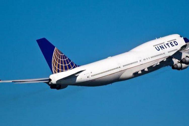 Sebuah pesawat terbang milik maskapai United Airlines.