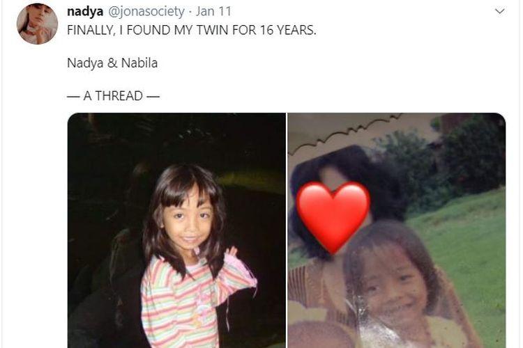 Nadya dan Nabila, kembar yang terpisah 16 tahun ini tak sengaja bertemu di media sosial. Kisah mereka pun mengharukan warganet. Saat ini, Nadya dan Nabila sedang mencari saudara kembar mereka yang ketiga.