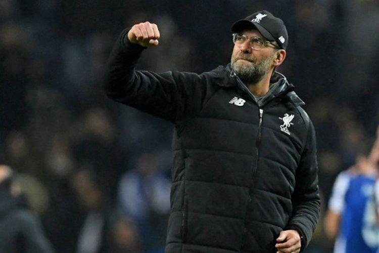 Ekspresi Manajer Liverpool FC, Juergen Klopp, seusai laga leg pertama babak 16 besar Liga Champions kontra FC Porto di Stadion Do Dragao, Porto, Portugal, pada 14 Februari 2018.