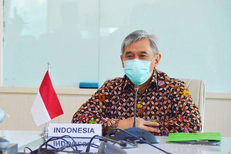 Kepala Badan Riset dan Sumber Daya Manusia (BRSDM) Kementerian Kelautan dan Perikanan (KKP) Sjarief Widjaja saat menjadi Delegasi Indonesia dalam acara The 53rd South East Asian Fisheries Development Center (SEAFDEC) Council Meeting yang dilaksanakan secara daring pada Senin (11/5/2021).