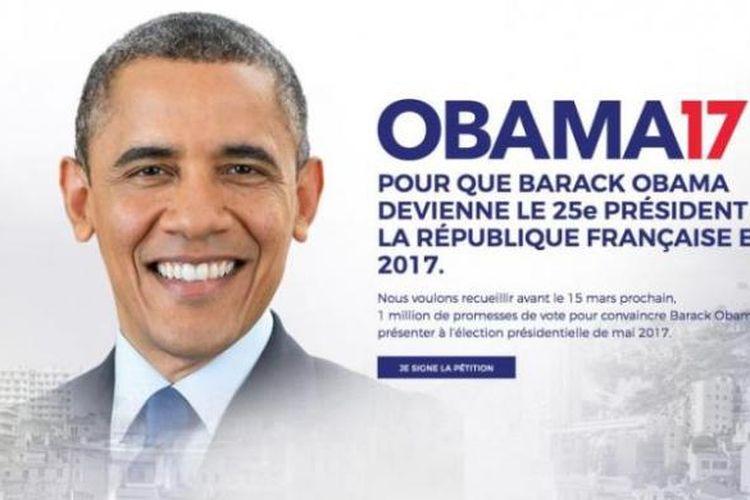 Poster ajakan untuk mendukung Obama agar mencalonkan diri dalam pemilihan presiden Perancis 2017.