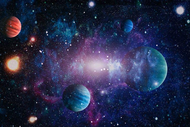Ilustrasi galaksi. Galaksi adalah sekumpulan besar gas, debu, dan miliaran bintang, serta tata surya, yang semuanya disatukan oleh gravitasi.